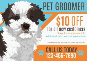 Garland Print Shop illustration of puppy advertising a pet groomer vector id535005425 300x210